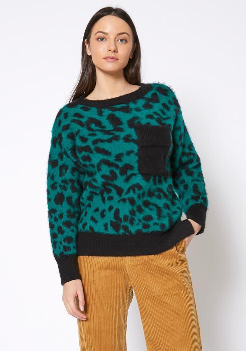Bellatrix Teal Leopard Print Shaggy Knit Sweater