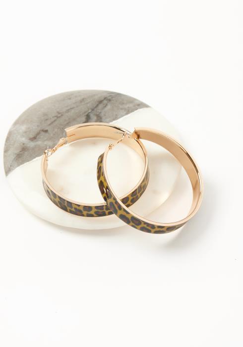 Asoph Golden Leopard Hoop Earrings