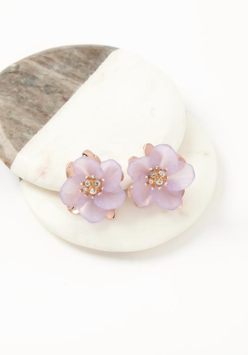 Asoph Water Lily Flower Stud Earrings