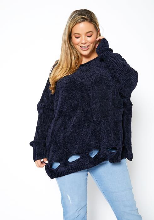 Asoph Plus Size Distressed Cozy Knit Women Sweater