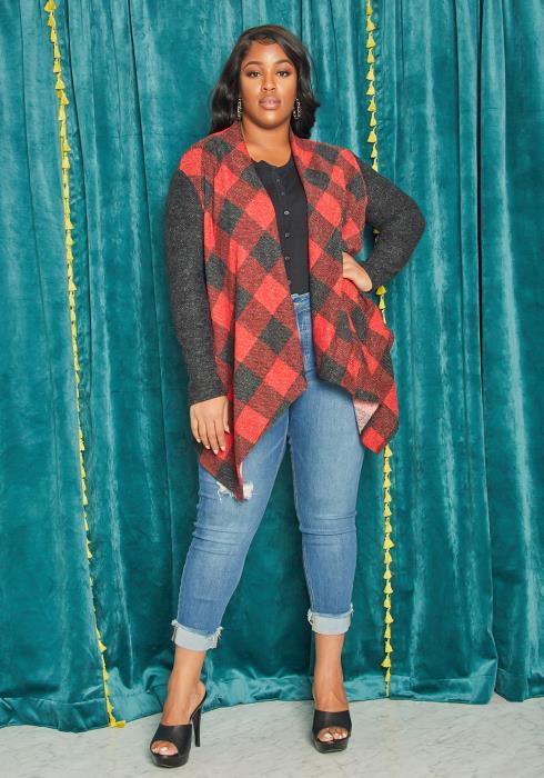 Asoph Plus Size Plaid Drapey Collar Cardigan