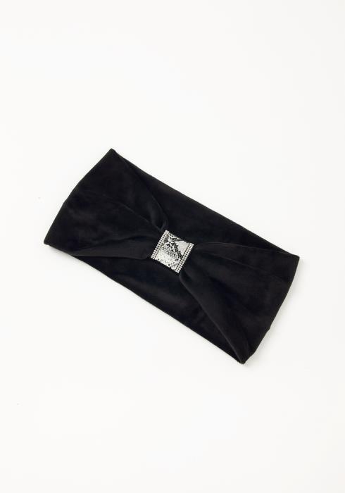 Asoph Snakeskin Cuffed Womens Black Fleece Headband