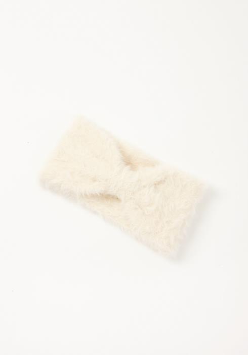Asoph White Shaggy Knit Womens Bow Cuffed Headband