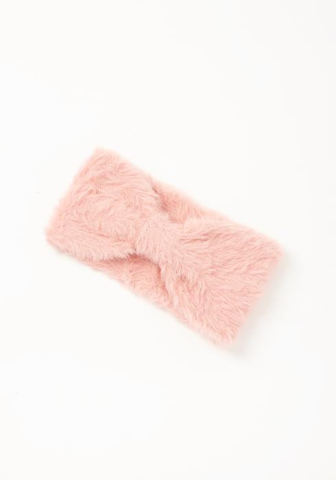 Asoph Pink Shaggy Knit Womens Bow Cuffed Headband