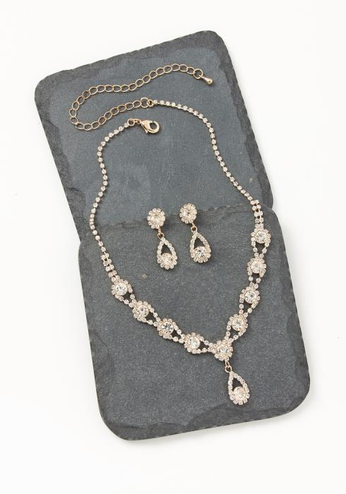 Asoph Bloomsburry Gold Diamond Earring & Necklace Set