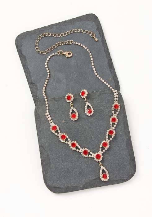 Asoph Bloomsburry Ruby Diamond Earring & Necklace Set