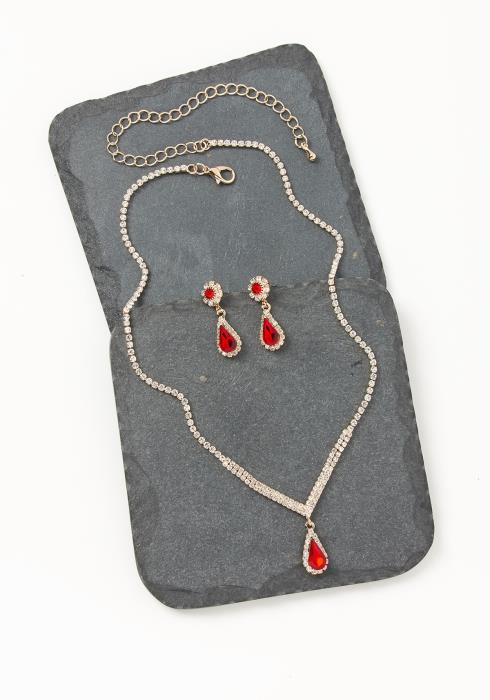 Asoph Caesars Palace Ruby Diamond Earring & Necklace Set