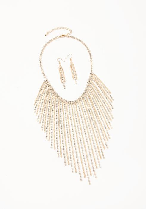 Asoph Kensington Gold Diamond Drop Earring & Necklace Set