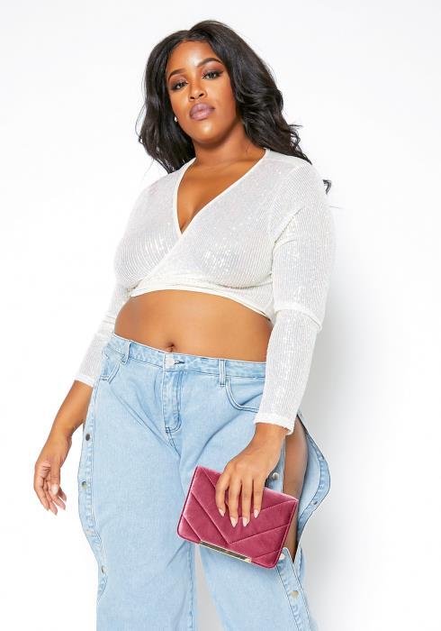 Asoph Plus Size Iridescent Sequin Womens Wrap Crop Top