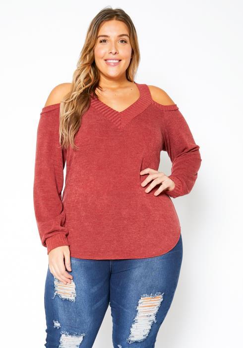 Asoph Plus Size V-Neck Open Shoulder Sweater