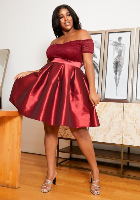 Asoph Plus Size Sequin Fit Flare Evening Dress