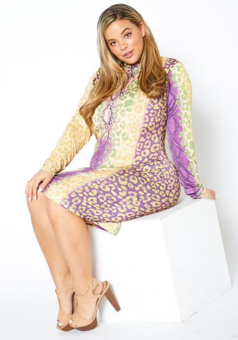 Asoph Plus Size Pastel Cheetah Bodycon Dress
