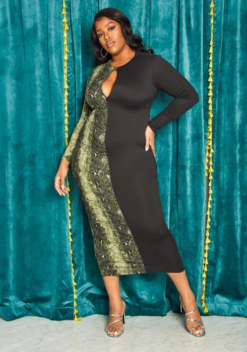 Asoph Plus Size Snakeskin Keyhole Bodycon Dress