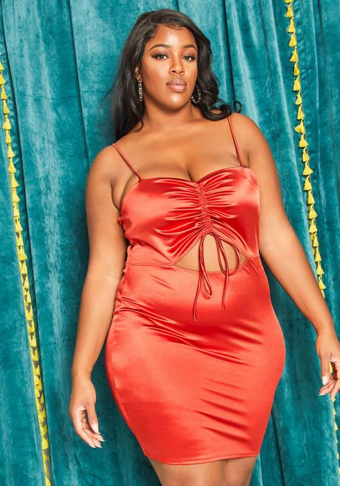 Asoph Plus Size Satin Ruched Party Dress