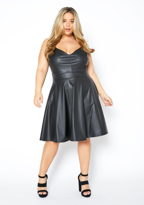 Asoph Plus Size Faux Leather Womens Cami Fit & Flare Dress