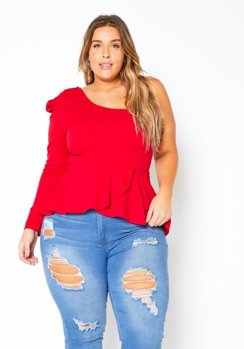 Asoph Plus Size One Shoulder Womens Classy Peplum Top