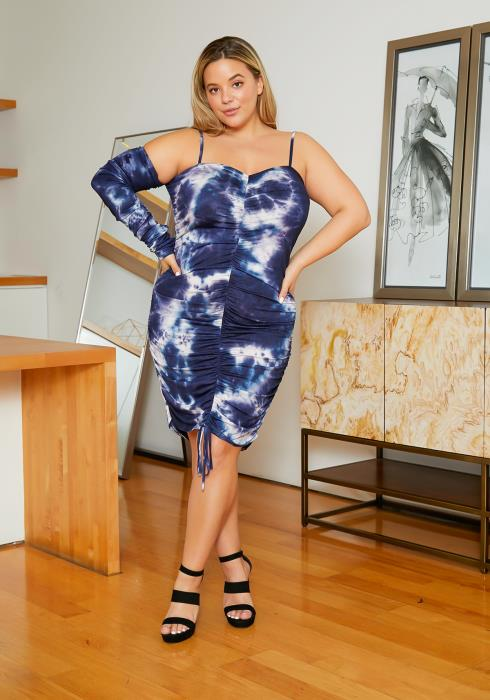 Asoph Plus Size Dreamy Tie Dye Womens Single Sleeve Cami Dress