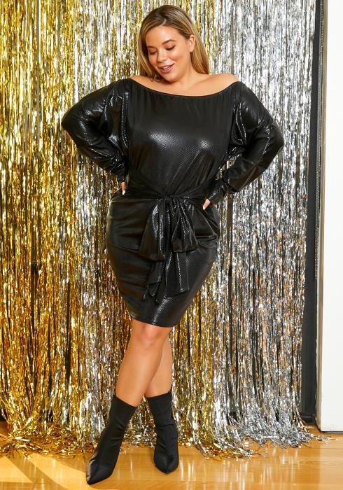 Asoph Plus Size Jet Black Womens Tie Front Dress