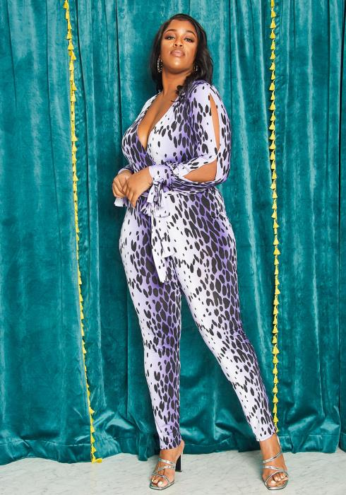 Asoph Plus Size Slit Sleeve Fitted Wrap Jumpsuit