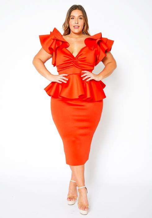 Asoph Curvy Womens Unordinary Ruffle Hem Party Dress