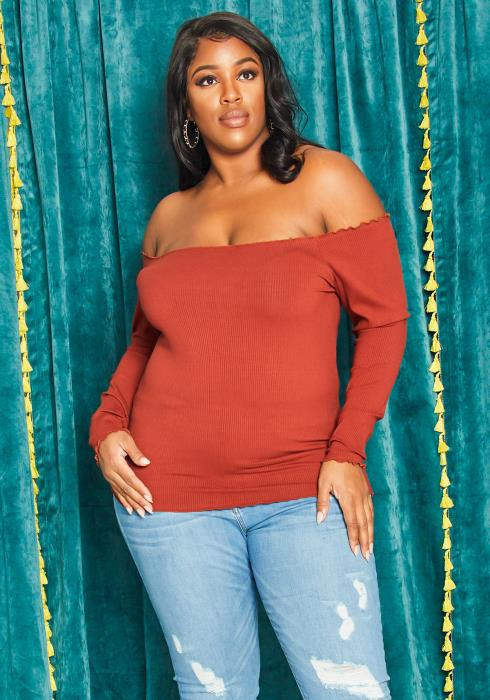 Asoph Curvy Women Off Shoulder Ribbed Knit Top