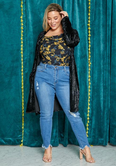 Asoph Plus Size Black Velvet Womens Open Front Cardigan