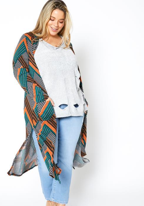 Asoph Plus Size Striped Womens Fall Season Open Cardigan