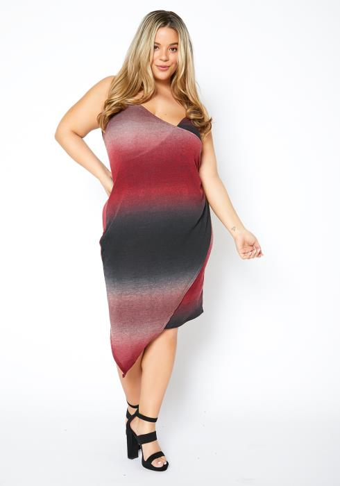 Asoph Plus Size Womens Red Mars Gradient Overlay Cami Dress