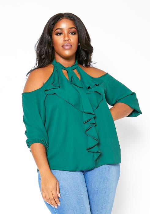 Asoph Plus Size Cold Shoulder Womens Waterfall Ruffle Blouse