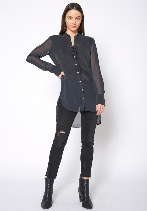 Ro & De Mesh Contrast Button Up Shirt