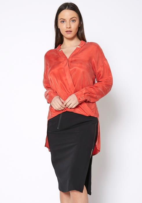 Ro & De Wrap Hi Lo Shirt Blouse