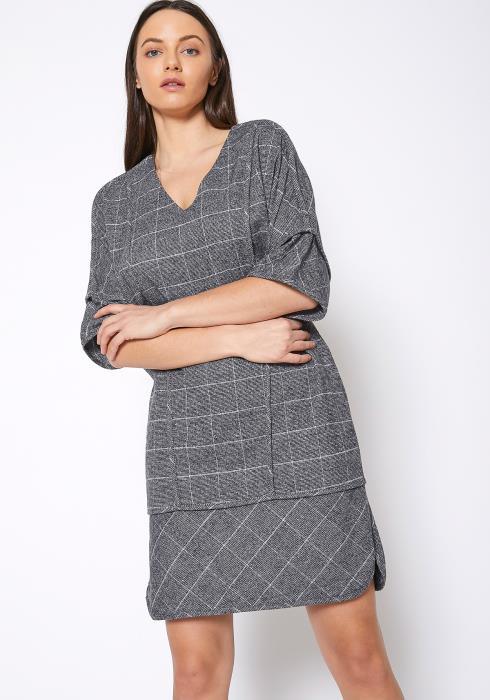 Ro & De V-Neck Brushed Cotton Check Dress