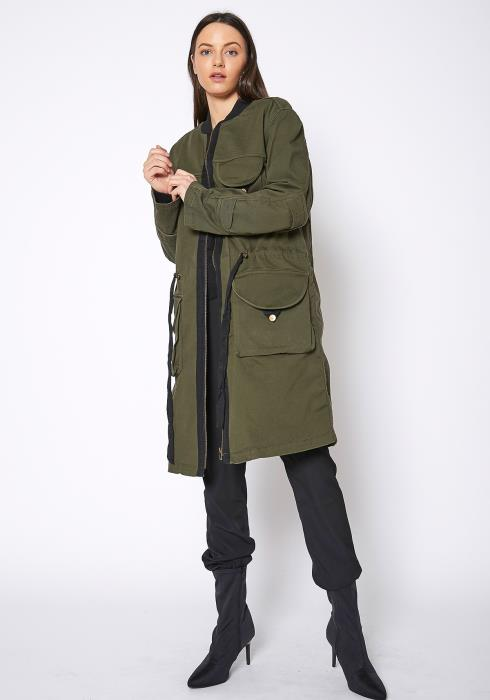 Ro & De Womens Zip Up Long Utility Jacket