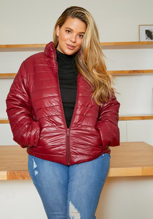 Asoph Plus Size Womens Stripe Quilted Puffer Coat