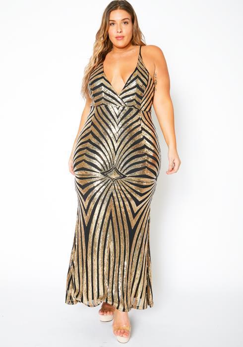 Asoph Plus Size Golden Goddess Evening Gown