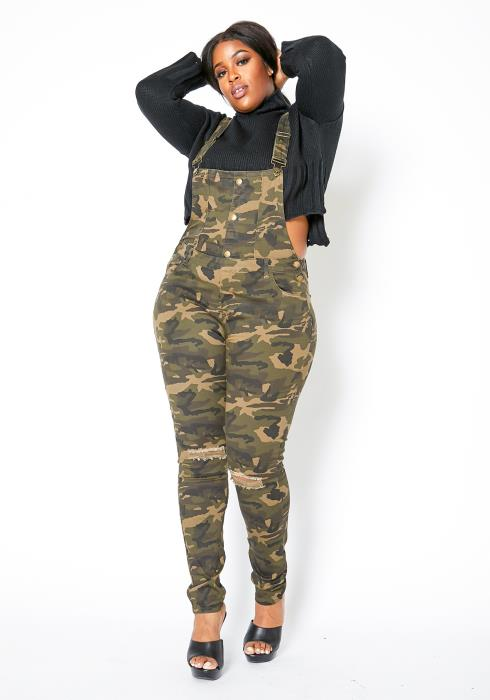 Asoph Curvy Womens Military Camo Overall Jeans