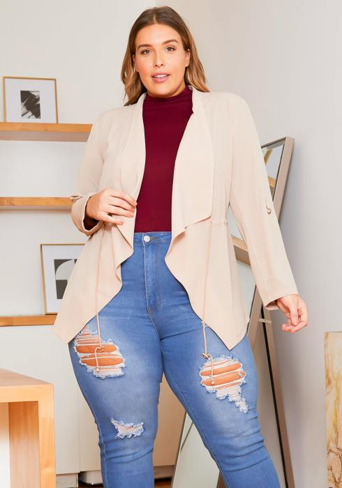 Asoph Plus Size Womens Lightweight Taupe Cardigan
