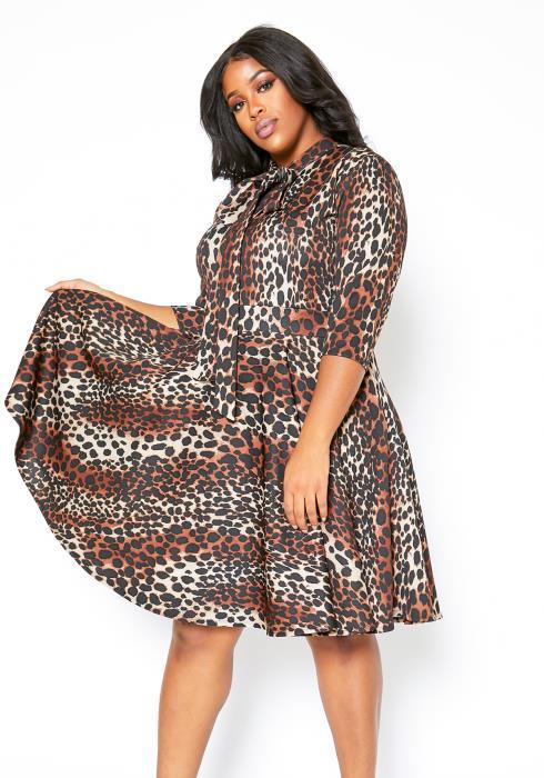 Asoph Plus Size Womens Animal Print Fit & Flare Dress