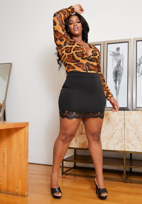 Asoph Curvy Womens Lace Trim Mini Skirt