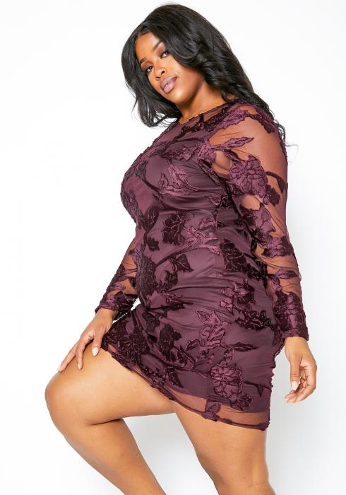 Asoph Plus Size Rosy Plum Embroidered Womens Mesh Dress