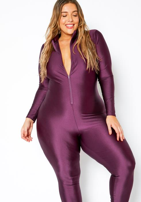 Asoph Curvy Womens Purple Satin Zip Up Jumpsuit