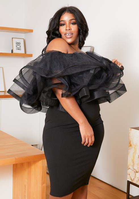 Asoph Plus Size Organza Off Shoulder Dress