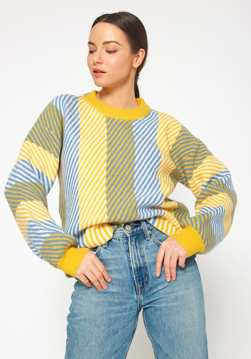 Pleione Multi Stripe Cozy Crewneck Sweater