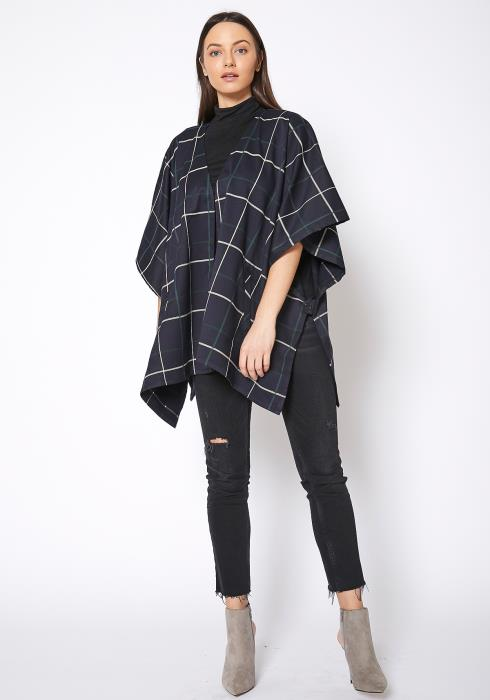 Pleione Plaid Oversized Poncho Cardigan