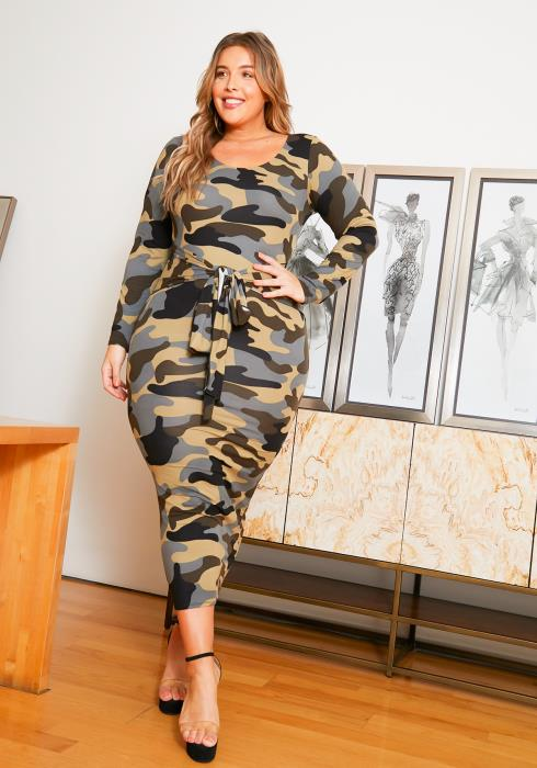 Asoph Curvy Womens Camo Knot Front Bodycon Midi Dress