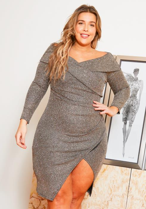Asoph Plus Size Womens Golden Glitter Bodycon Party Dress