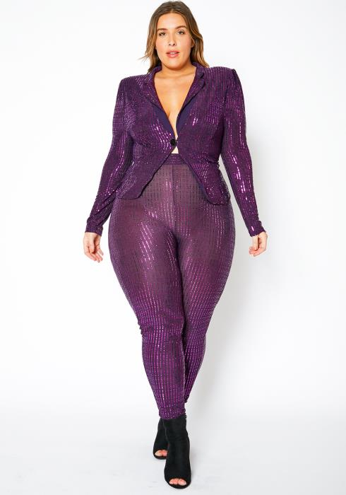 Asoph Curvy Womens Purple Sequin Blazer & Leggings Set