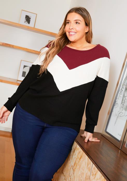 Asoph Plus Size Chevron Striped Womens Knit Sweater