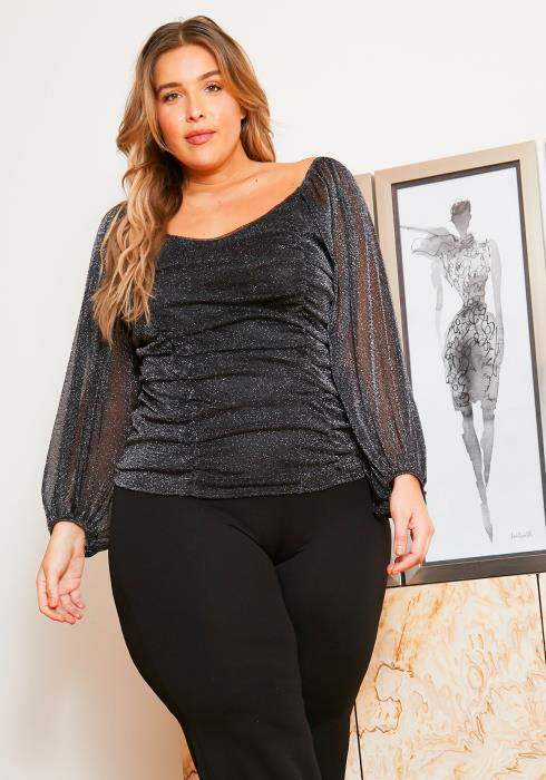 Asoph Plus Size Silver Metallic Womens Ruched Front Top