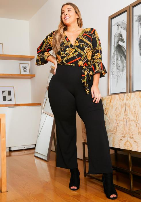 Asoph Plus Size Womens Luxury Pattern Contrast Jumpsuit